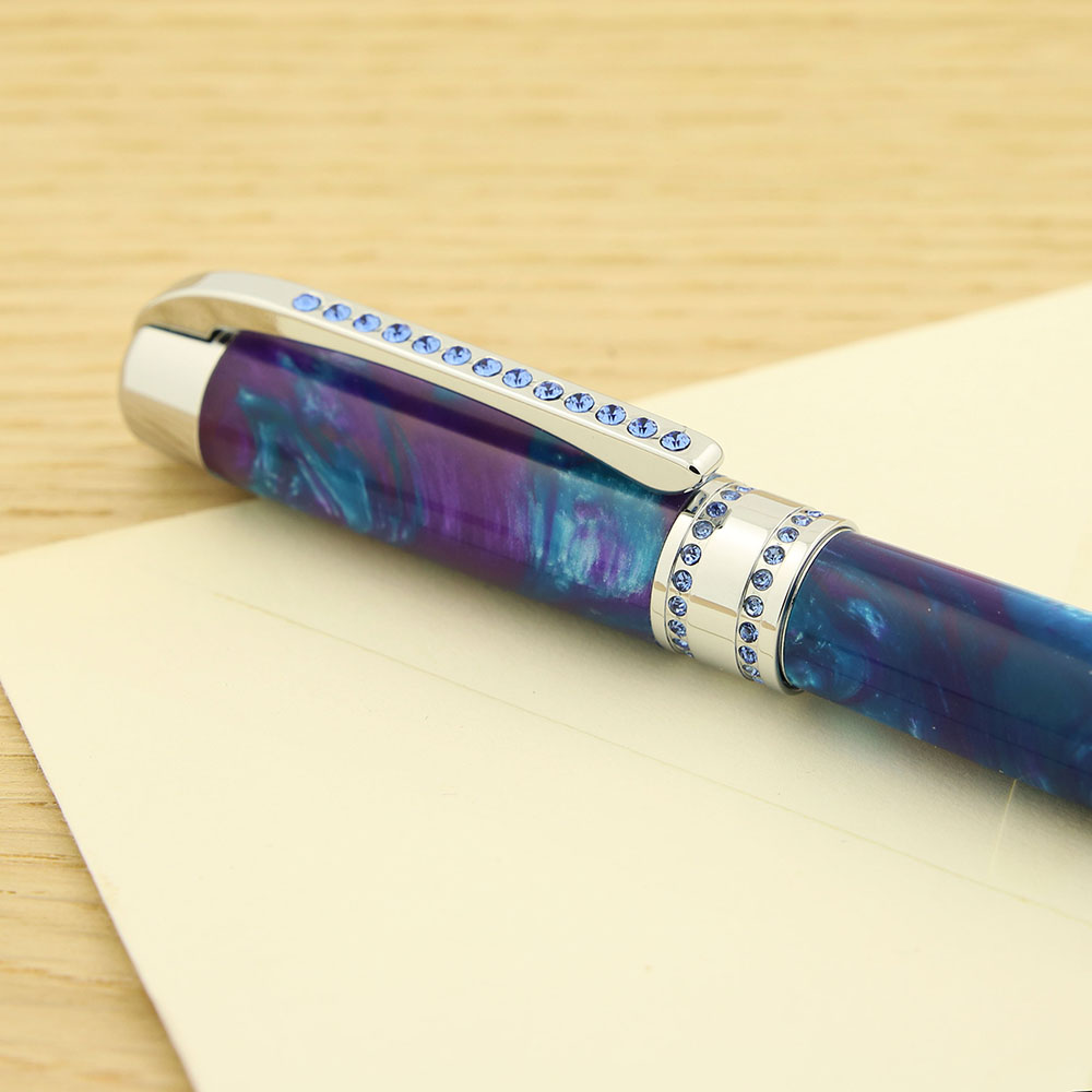 Shown here on Princess pen kit chrome with blue crystals