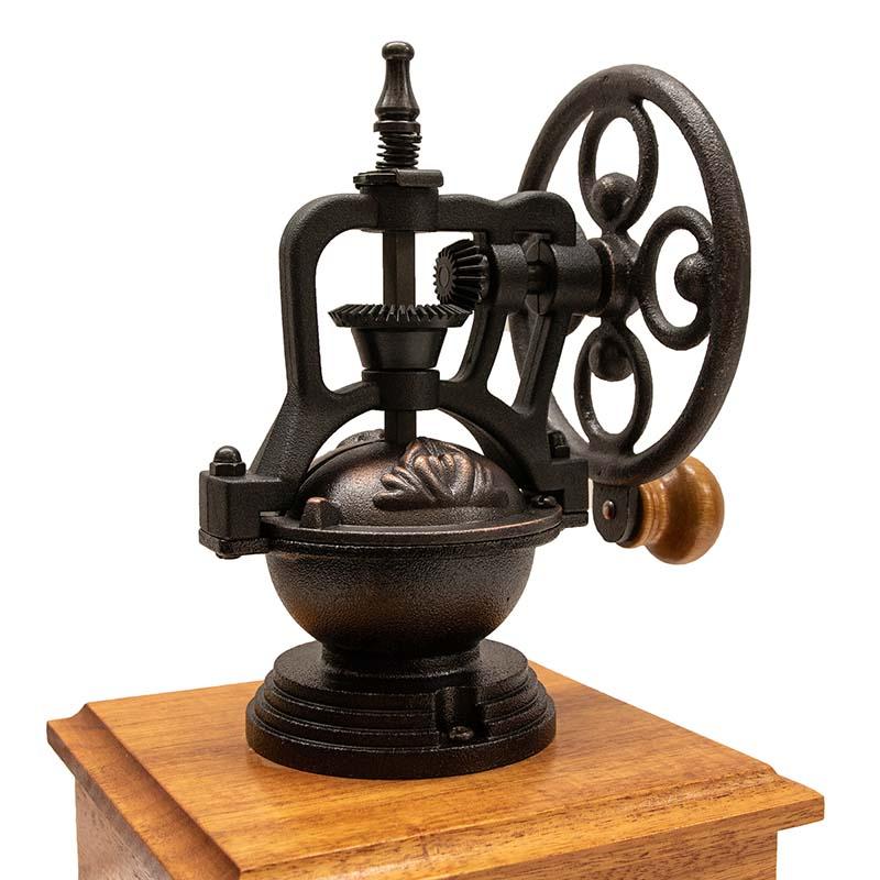 Heirloom coffee grinder mechanism with side-crank wheel