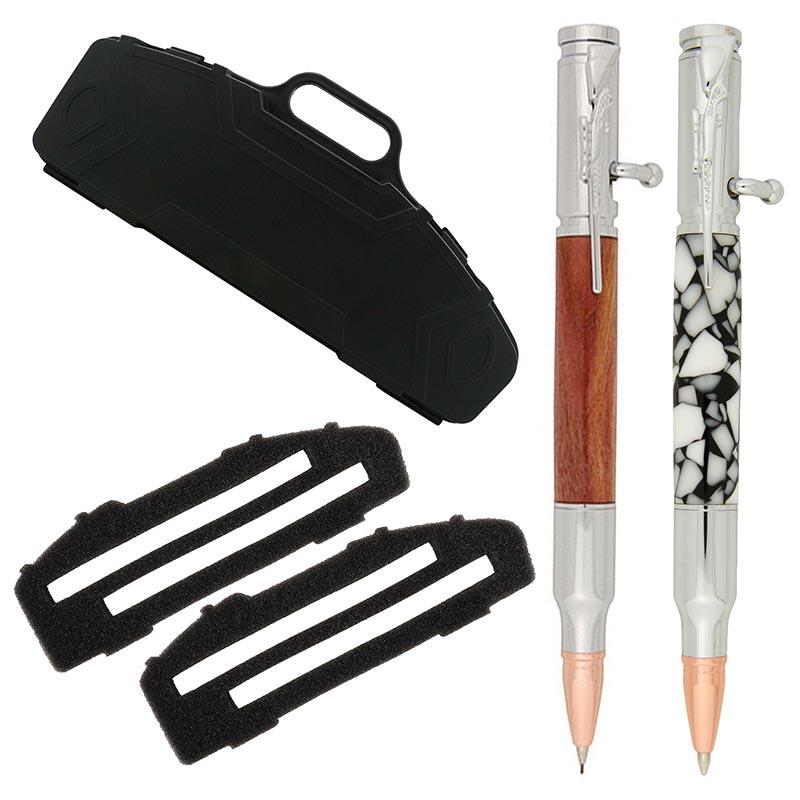 Bolt action pen & pencil BUNDLE chrome with box