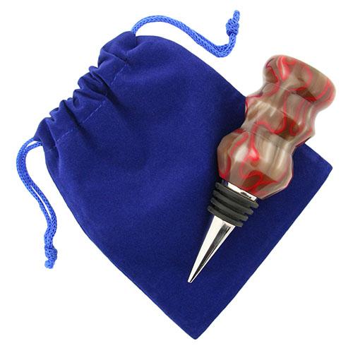 Five-pack bottle stopper velveteen pouch blue