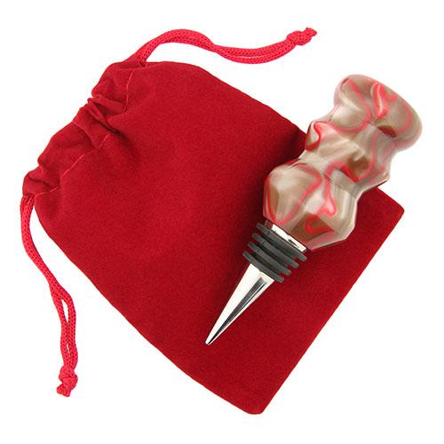 Five-pack bottle stopper velveteen pouch red