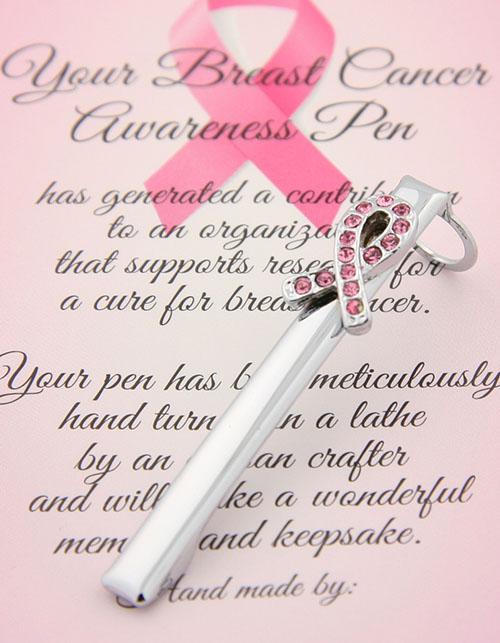 Slimline breast cancer awareness clip chrome