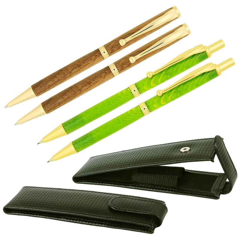 Budget Fancy Slimline BUNDLE gold - 2 pens, pencils & pouches