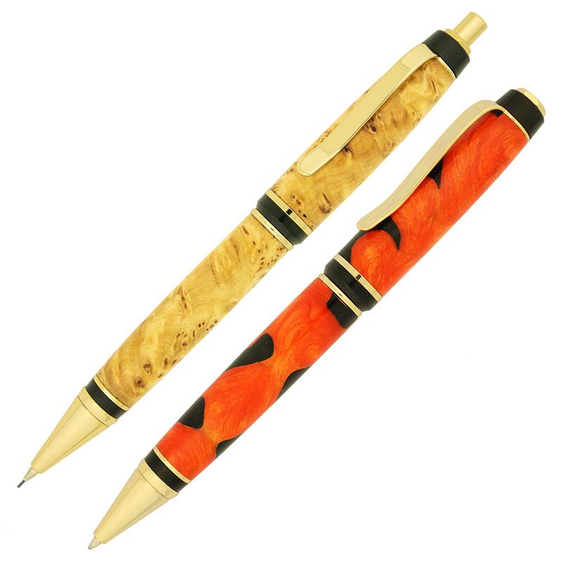 Cigar pen and pencil set gold