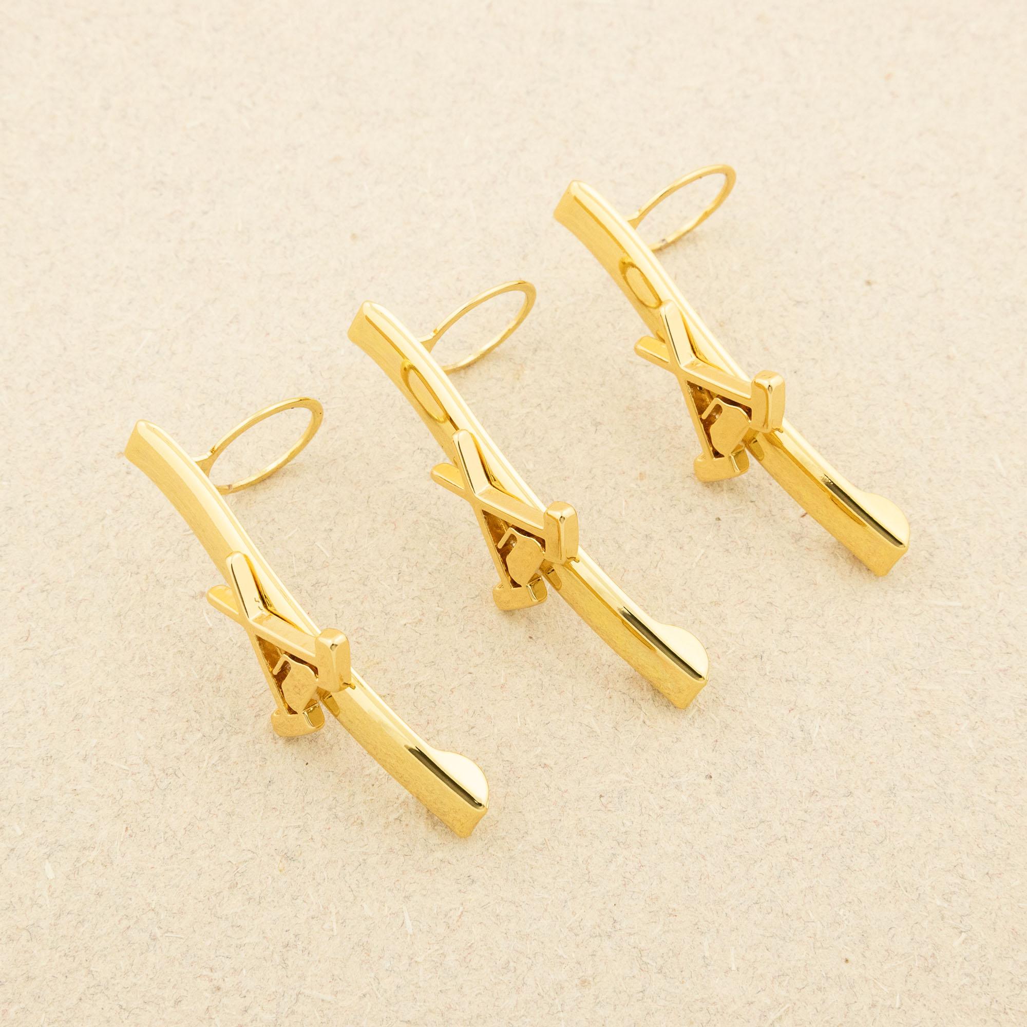 Maple Leaf pen kit clips gold curling - 3 pack