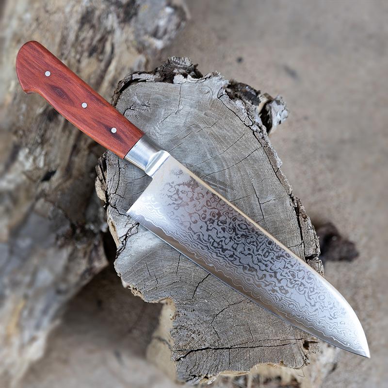 Vega Santoku VG-19 Damascus blade with bolster