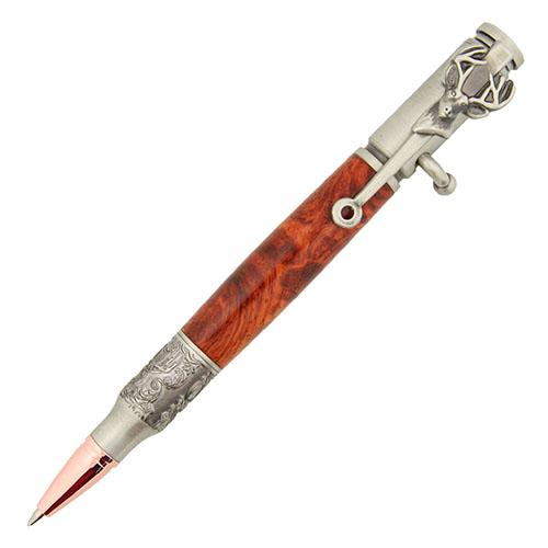 Bolt action pen kit deer head antique pewter