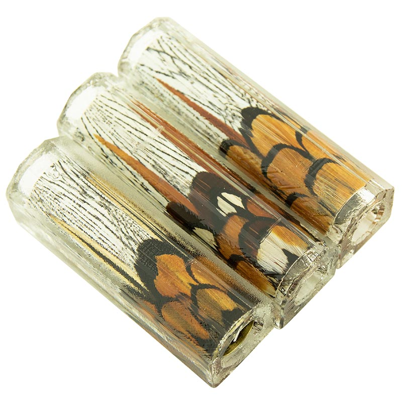 Exotic feather pen blanks Reeves pheasant on silver pheasant background - Fly Fishing