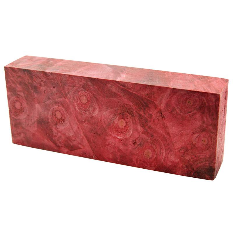 Knife block - Stabilized Buckeye Burl red 1 x 2 x 5