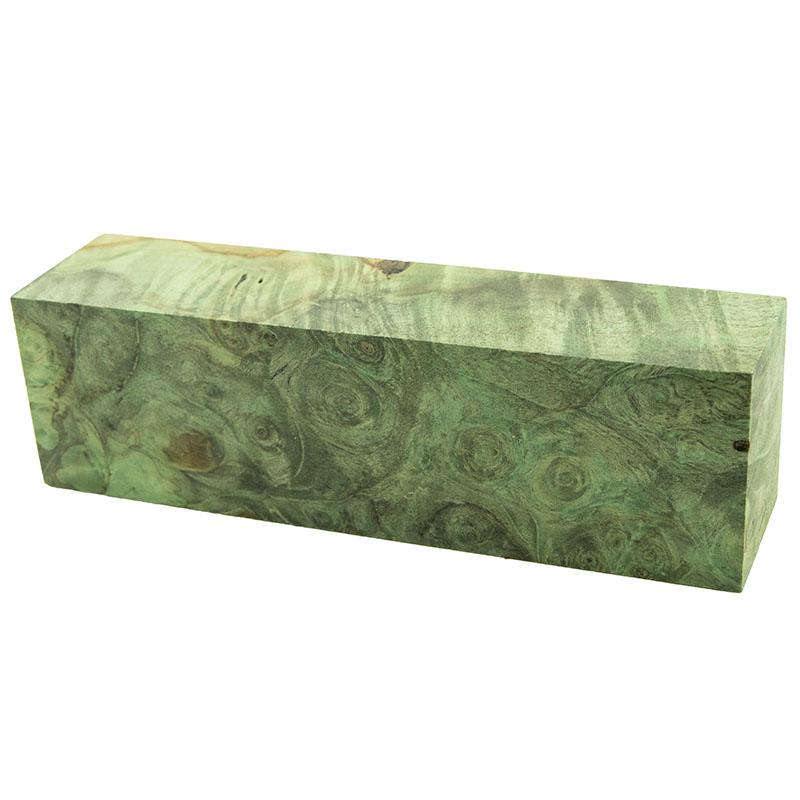 Knife block - Stabilized Buckeye Burl green 1 x 1-1/2 x 5