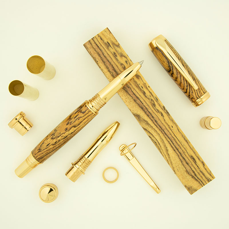 February monthly special - Algonquin rollerball pen kit gold and Bocote pen blank