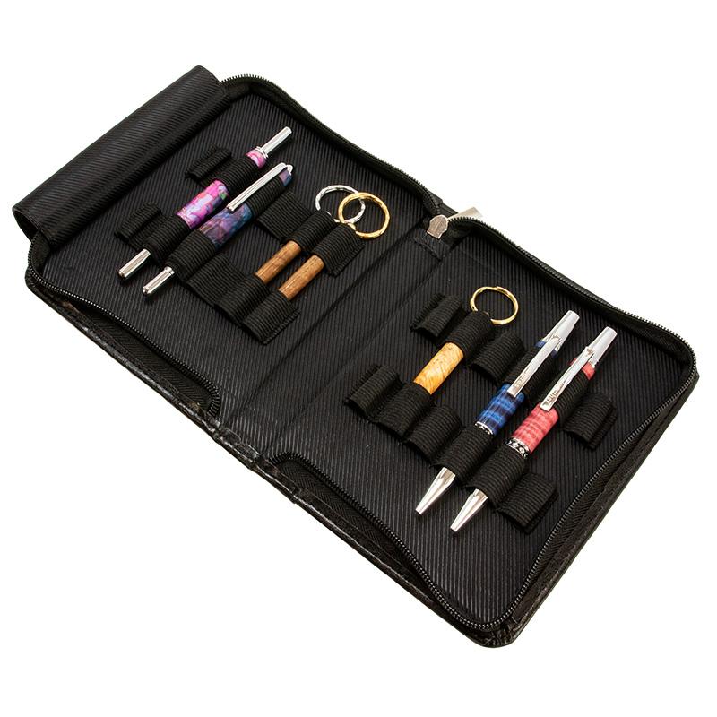 Classic black leather pen portfolio - 12 pens