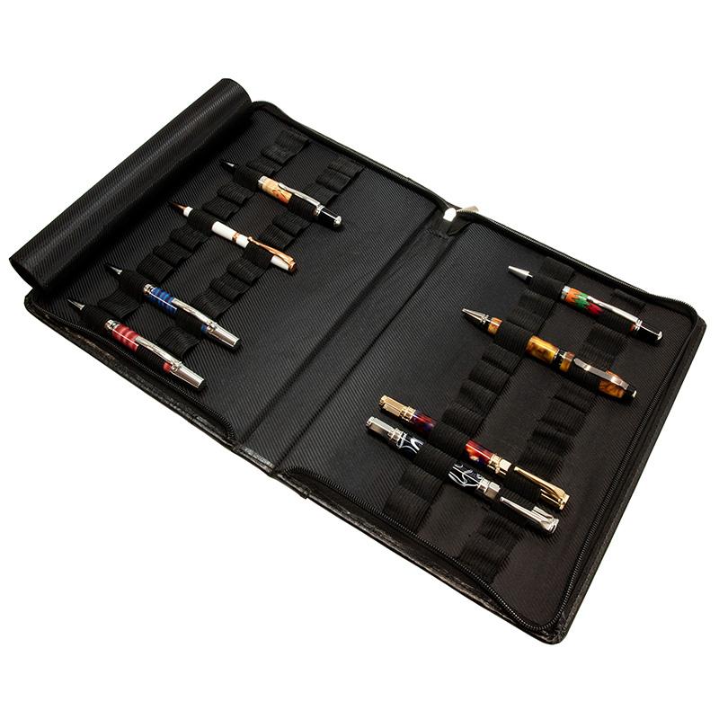 Classic black leather pen portfolio - 26 pens