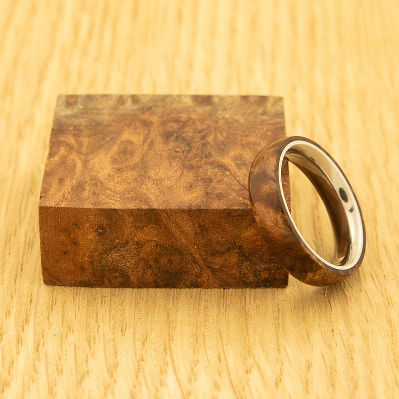 Stabilized Redwood Lace Burl ring blank - Exceptional