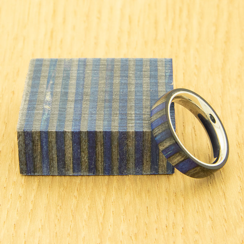 Stabilized SpectraPly ring blank - Blue Angel