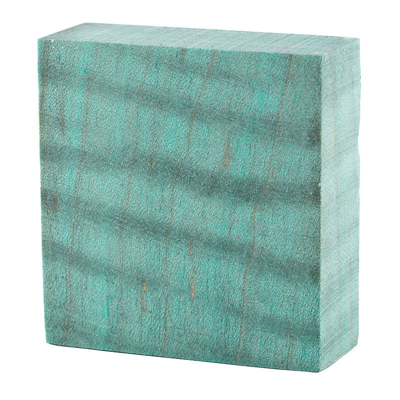 Stabilized curly maple ring blanks - ocean blue
