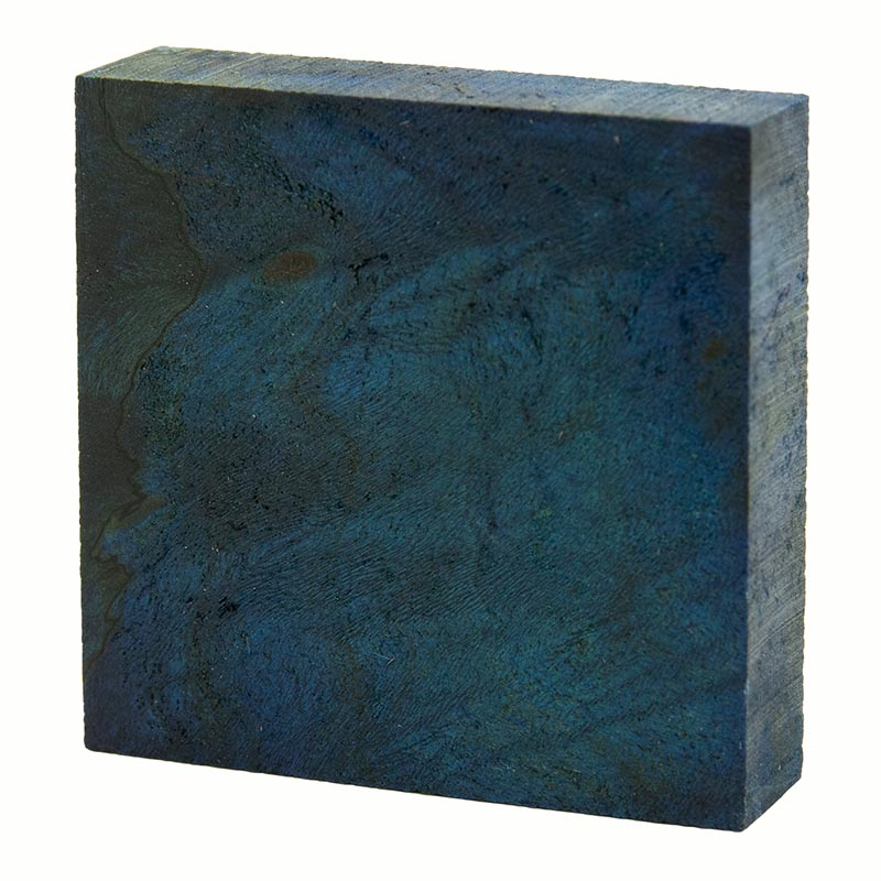 Stabilized maple burl ring blanks - electric blue