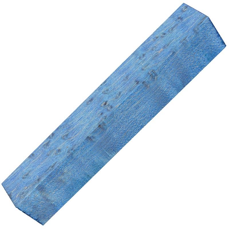 Stabilized Birdseye Maple pen blanks - electric blue