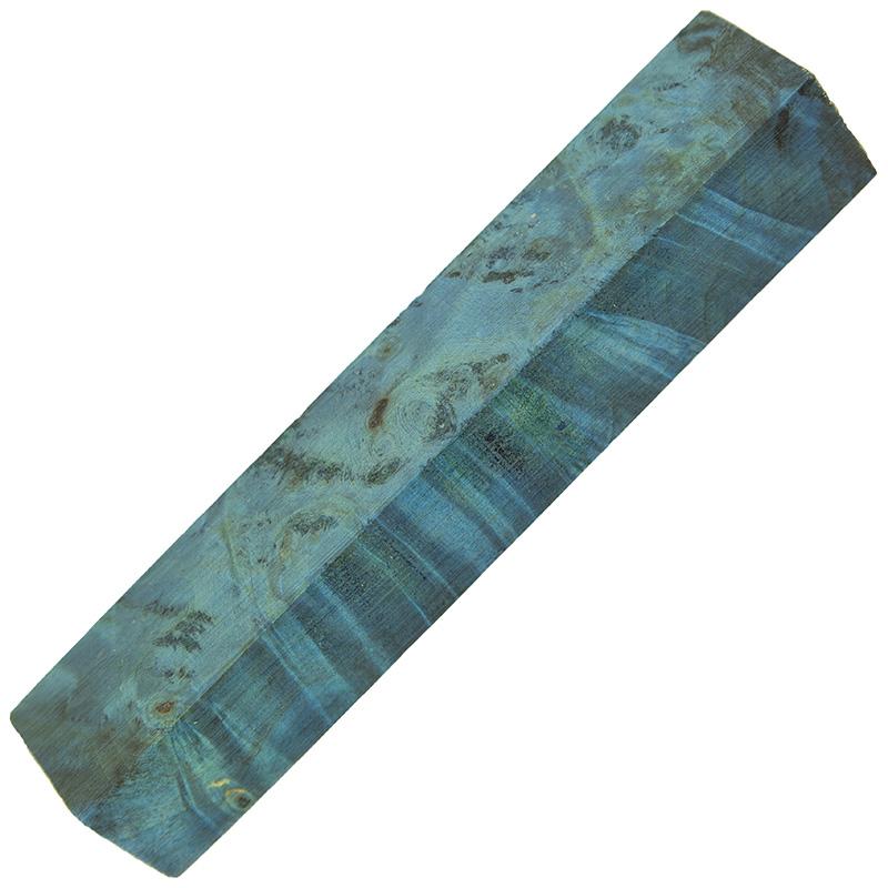 Stabilized Buckeye burl pen blanks electric blue