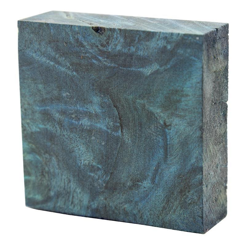 Stabilized Buckeye Burl ring blanks - electric blue