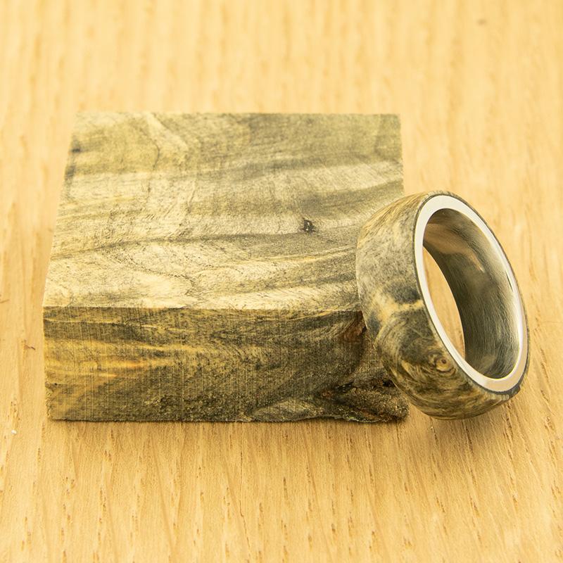 Stabilized buckeye burl ring blank natural