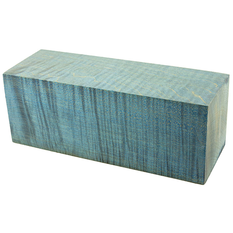 Stabilized curly maple project BLOCK 2 x 2 x 5-1/2 - electric blue