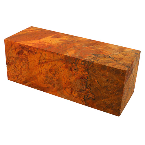 Stabilized maple burl BLOCK 2 x 2 x 5-1/2 - amber