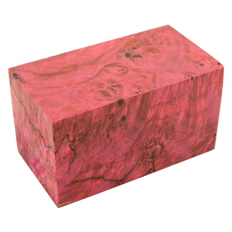 Stabilized maple burl bottle stopper blank pink 1-1/2 x 1-1/2 x 2-1/2