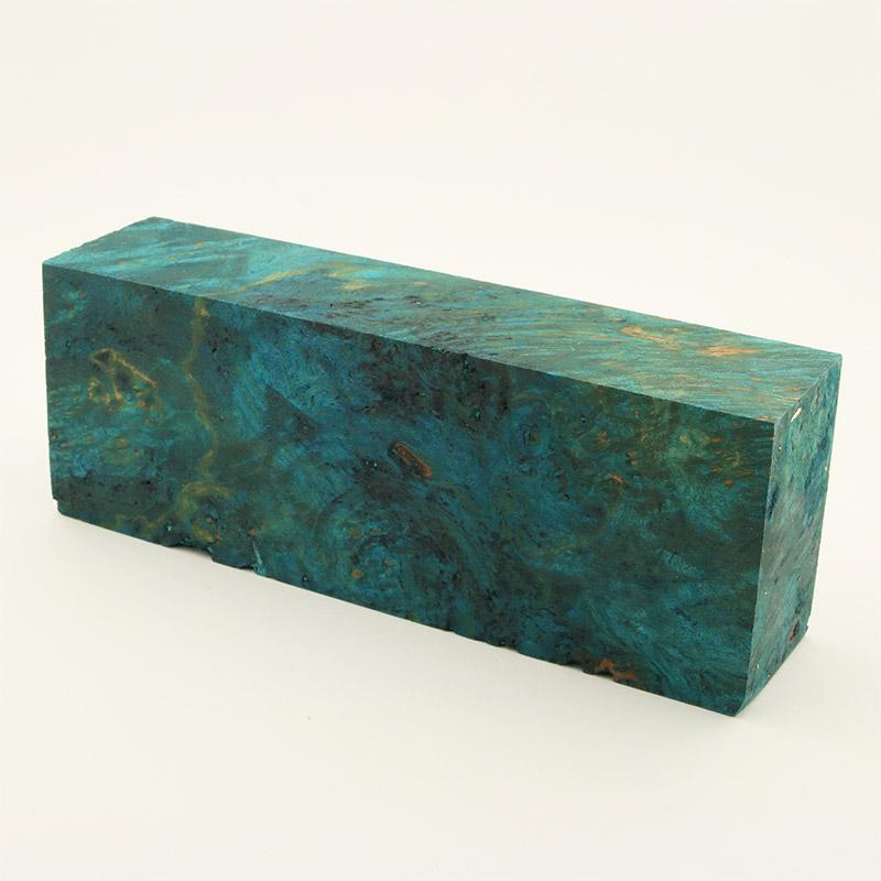 Knife block - Stabilized Maple Burl blue