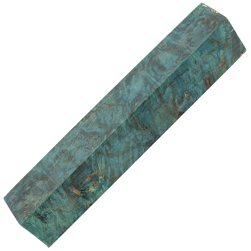 Stabilized maple burl pen blanks - electric blue