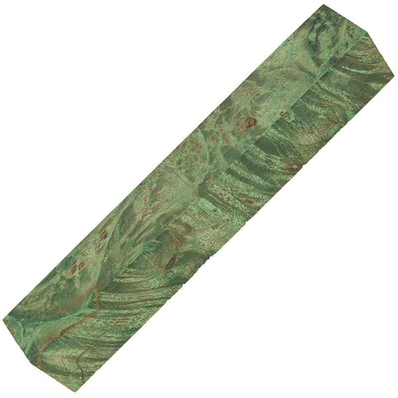 Stabilized maple burl pen blanks - green