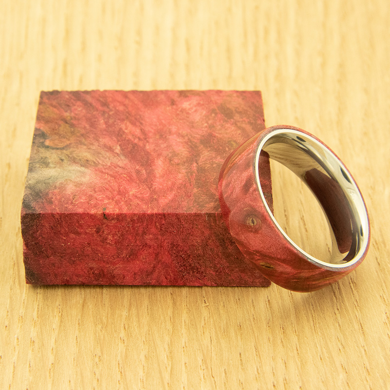 Stabilized maple burl ring blanks - red
